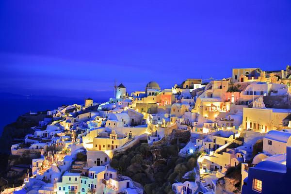 Oia village on Santorini island, Greece at nightime-M